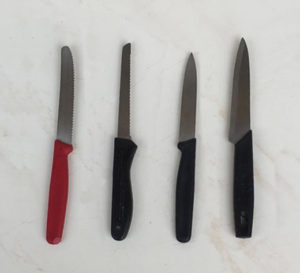 Why do I need four knifes that are almost similar, when i am the only person cooking at home? why do I need bread knive when i have stopped eating bread? Even during those days i only bought pre sliced breads.